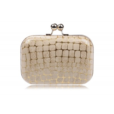 Party Women's Evening Bag With Stone Veins andKiss-Lock Closure Design