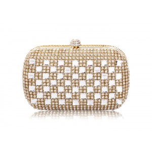 Party Women's Evening Handbag With Rhinestones and Solid Color Design