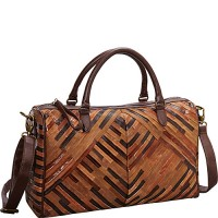 R & R Collections Patchwork Convertible Leather Satchel
