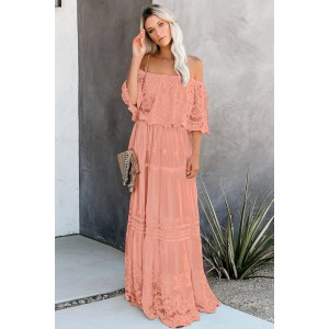Beige Flower Child Off The Shoulder Lace Maxi Dress Gray Pink
