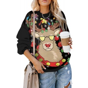 Black Merry Christmas Holiday Cartoon Print Sweatshirt Red