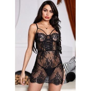 Black Strapping Lace Chemise