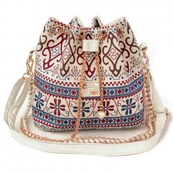 Bohemian Women's Shoulder Bag With Chains and Print Design