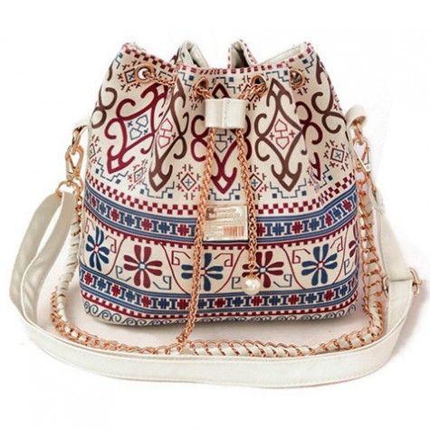 Bohemian Women S Shoulder Bag With Chains And Print Design