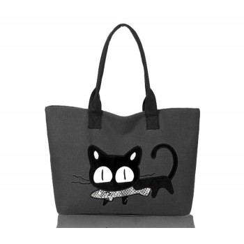 Casual Women's Shoulder Bag With Cat Print and Canvas Design Gray