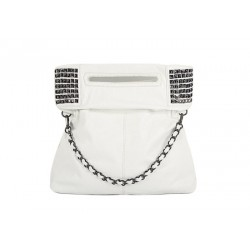 Elegant Casual Women's Shoulder Bag With Solid Color Rivets and Metal Chain Design