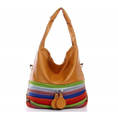 Fashion Women's Shoulder Bag With Multilayer Zippers and PU Leather Design