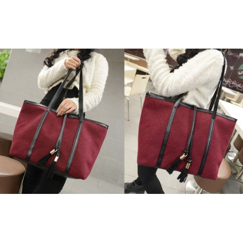 b97b0d51b2a2 Fashion Women s Shoulder Bag With Tassels and Splice Design Zoom. Product  ...