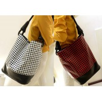 Retro Style Women's Shoulder Bag With Houndstooth and Rivets Design