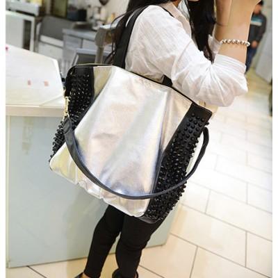 Stylish Women's Shoulder Bag With Rivets ans Sparkling Glitter Design