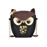 Sweet Women's Shoulder Bag With Animal Pattern and Chains Design