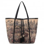 Trendy Women's Shoulder Bag With Print and Tassels Design