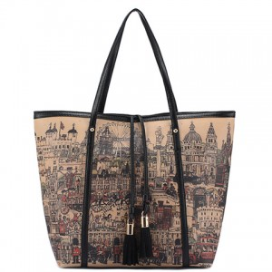 Trendy Women's Shoulder Bag With Print and Tassels Design