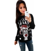 Black Christmas Reindeer Crew Neck Sweater