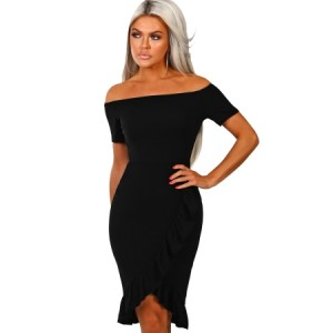 Black Frill Trim Short Sleeve Off Shoulder Midi Dress Navy Blue