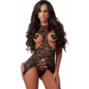Black Lace Cutout Strappy Teddy Lingerie