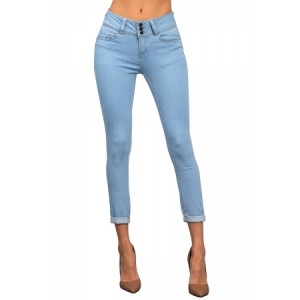 Medium Denim Cuffed Butt Lifting Skinny Jeans Light