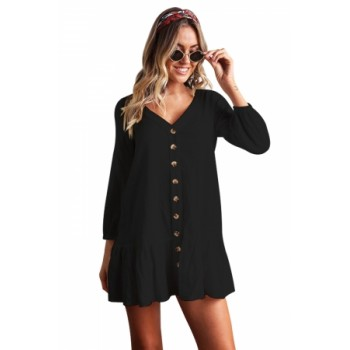 Sleeved Button Down Black Casual Short Dress White