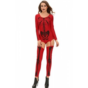 Red Bad To The Bone Halloween Skeleton Costume