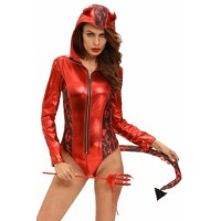 Red Hot Devilish Hooded Romper Costume