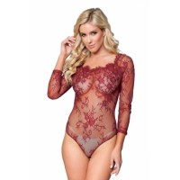 Black Long Sleeve Embroidery Lace Bodysuit Red
