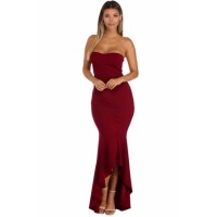 Burgundy Strapless High-low Hem Mermaid Dress