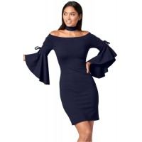 Grommet Lacing Sleeved Navy Chocker Dress