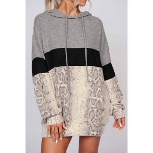 Grey Long Sleeve Snakeskin Print Color Block Hoodie