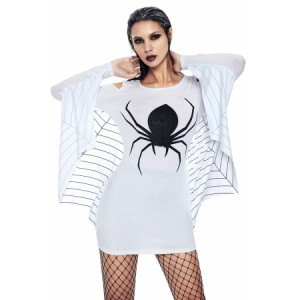 White Spiderweb Jersey Tunic Dress Black