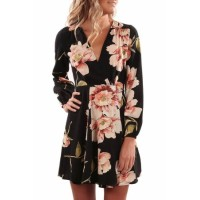 Black Long Sleeve V Neck Floral Wrap Dress