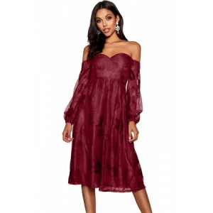 Burgundy Bardot Embroidered Gauze Party Dress Black