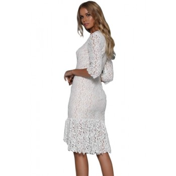 Button Down Detail White Lace Midi Dress