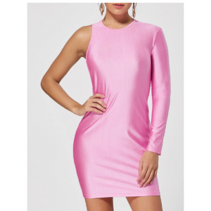 One Shoulder Back Cut Out Club Bodycon Dress - Pink Orange