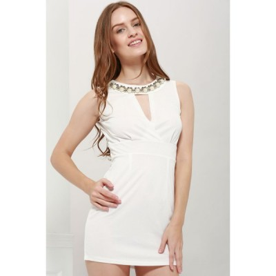 Sexy Plunging Neck Solid Color Bead Embellished Party Dress For Women