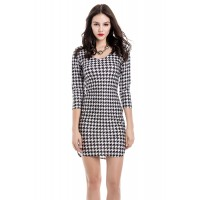 Sexy Women's Off-The-Shoulder Houndstooth 3/4 Sleeve Dress - White And Black