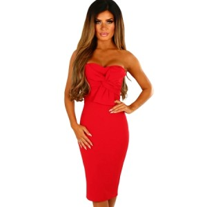 Black Twist Knot Front Strapless Midi Dress Blue Red