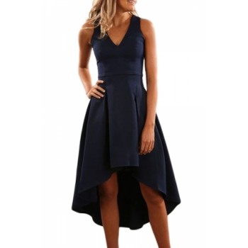 Burgundy High Low Hem Sleeveless Midi Dress Blue Navy Black