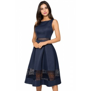 Navy Blue Crochet Detail Sleeveless Fit-and-flare Midi Dress