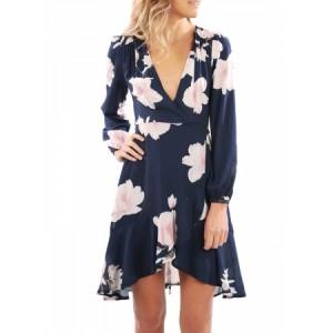 Navy Floral Print Wrap and Tie Long Sleeve Dress