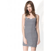 Scoop Neck Sleeveless Backless Striped Stylish Dress For Women