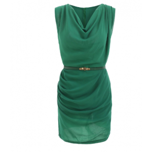 Sleeveless Cowl Neck Solid Color Belt Design Slimming Packet Buttock Dress For Women - Green