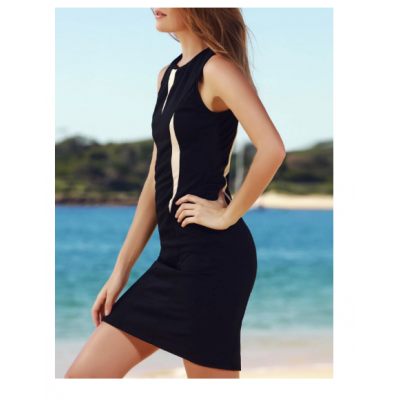 Sleeveless Round Neck Color Block Bodycon Dress For Women - Black