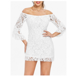 Solid Color Tempting Boat Neck Off-The-Shoulder Trumpet Sleeve Lace Dress For Women - White