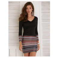 V-Neck Long Sleeve Colorful Striped Women's Dress - Black
