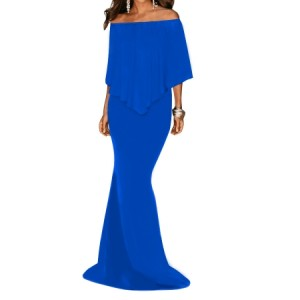 Black Off Shoulder Overlay Ruffle Evening Dress White Red Blue