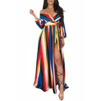Rainbow Striped Off Shoulder Belted Maxi Jumpsuit