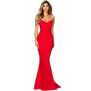 Red Strapless Sweetheart Neckline Mermaid Gown Black