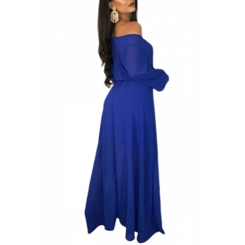 Royal Blue Wrap Off Shoulder Tie Waist Maxi Dress