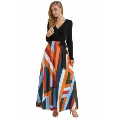 Black Long Sleeve Striped Skirt Maxi Dress Blue