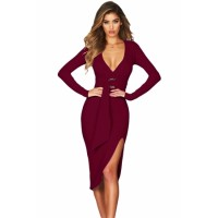 Burgundy Faux Wrap V Neck Long Sleeve Midi Dress Black